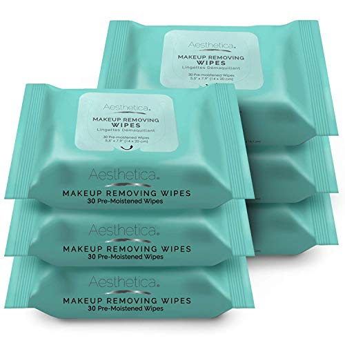 Aesthetica Makeup Removing Wipes - Facial & Eye Makeup Remover Wipes - 6 Pack Bulk (180 Wipes Total)...