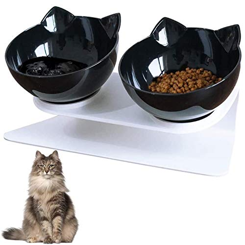 VieVogue Doppelter Futternapf, Futtern?pfe Katzenfutter Fressn?pfe f¨¹r Katzen 15 ¡ãGeneigt Doppelt Futternapf Haustier Essen Wasser Sch¨¹sseln ¡ (Black+Black Bowls)