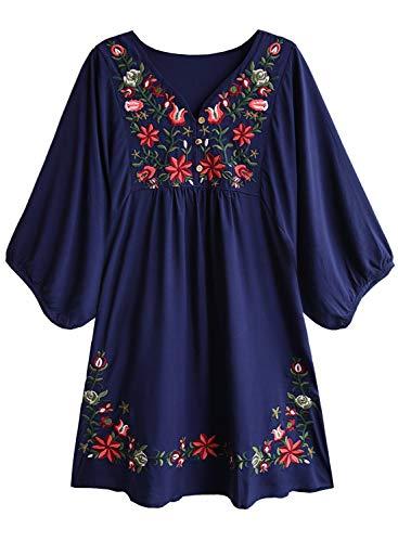 Doballa Damen Boho Tunika Hippie Kleid Gestickt Blumen Mexikanische Bluse, Marine Stern Blume, XL