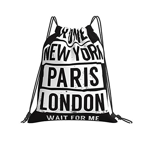 Borsa classica con coulisse Roma, New York, Parigi, Londra Wait For Me Borsa da palestra Borsa con coulisse Zaino in poliestere Borsa sportiva per uomo Donna