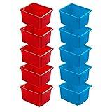 10x Drehstapelbehälter, LxBxH 455x360x245 mm, 32 Liter, je 5x blau und rot