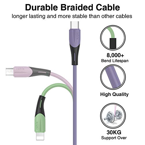 Multi USB Kabel, 3 in 1 Universal ladekabel Nylon Mehrfach Ladekabel Micro USB Typ C für Android Galaxy S20 S10 S9 S8 A5 J5, Huawei P40 P30, Honor, Oneplus, Xiaomi, Sony, LG, Kindle, Echo Dot 1.5M