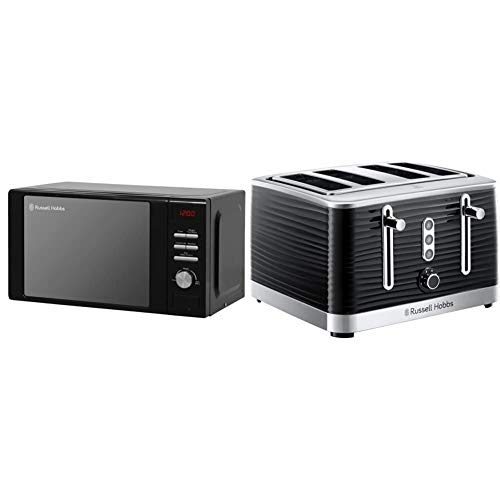 Russell Hobbs RHM2064B 20 Litre 800 W Black Digital Heritage Microwave with 5 Power Levels & 24381 Inspire High Gloss Plastic Four Slice Toaster, Black