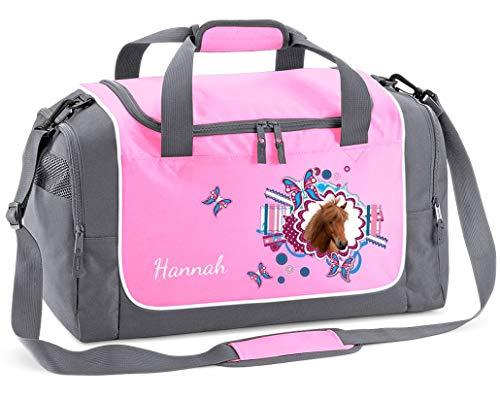 Mein Zwergenland Sporttasche Kinder Praktisch kompakt & robust Sporttasche mit Namen Pferdekopf als Aufdruck Farbe Rosa 38 L Stauraum die perfekte Sporttasche für Kinder