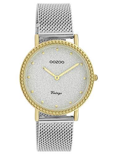 Oozoo Vintage Damenuhr mit Edelstahl Milanaiseband 34 MM Glitzer/Goldfarben C20053
