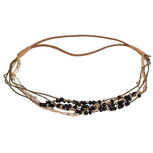 JUSTFOX - Haarband Boheme Hippie Style mit farbigen Perlen und Goldener Kette Schwarz