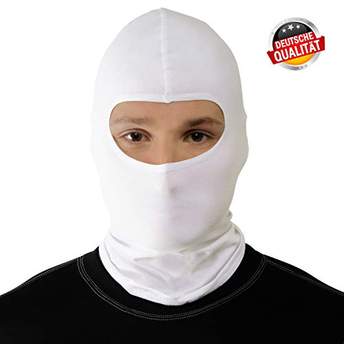 Starks Sturmhaube Motorrad Sommer Balaclava Herren Fahrrad Sturmmaske | 90% High Quality Baumwolle Quick Dry, Protect From Dust Sun Wind | Ideal for Summer Extreme Sport Rad Motorcycle Bike Outdoor, One Size, Weiß