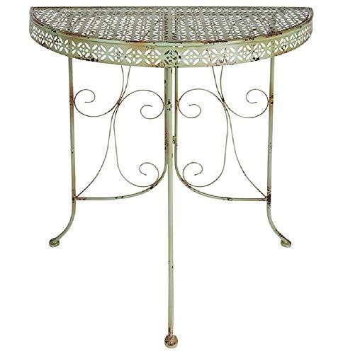 linoows Anstelltisch im Industriedesign, Retro Gartentisch, Halbrund Tisch aus Eisen
