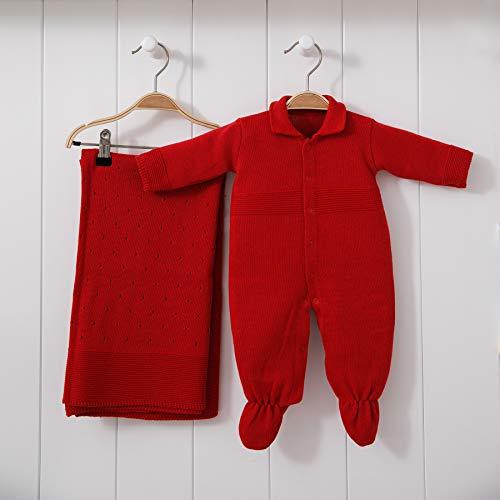 Saída De Maternidade Mami Tricot Modelo Furinho Tamanho Rn 02 Peças, Papi Textil, Vermelho