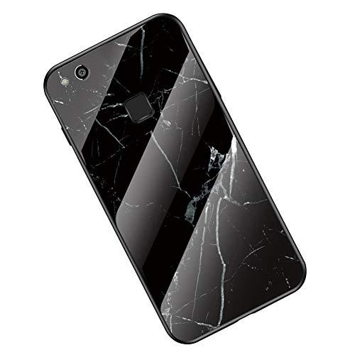 Marmor HandyHülle kompatibel mit Huawei P10 Lite Hülle, Schutz 9H glattes Glas Rückseite & Matt Silikon Bumper Stylishe Kratzfeste Stoßfeste Handyhülle Cover Ultra Dünn Schutzhülle, Marmor Grün