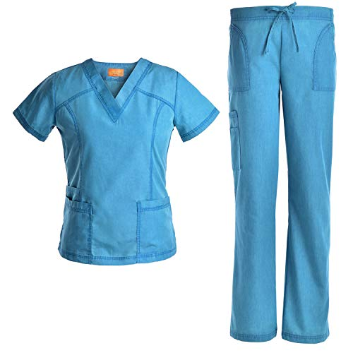 Jeanish V Neck Scrubs Set Superior Softness Washed Lady Women Scrubs Workwear Top and Pants JS1605 (CRB, S)