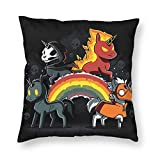 MINIOZE Halloween Skull Rainbow Unicorn Black Print Plush Soft Square Pillow Covers Home Decor Cushion Covers Decorations Gifts Pillowcase for Indoor Sofa Bedroom Car 18 x 18 Inch