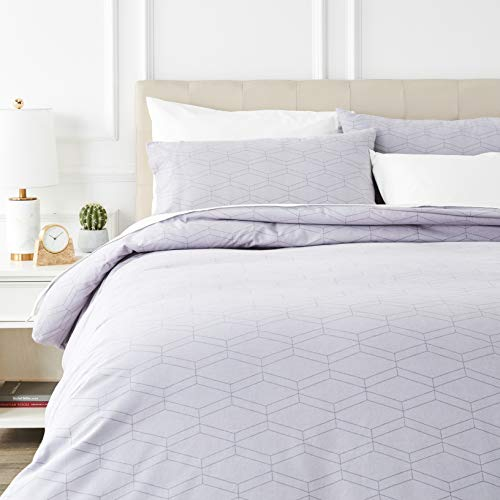 Amazon Basics - Juego de cama de franela con funda nórdica - 230 x 220 cm/50 x 80 cm x 2, Gris geo