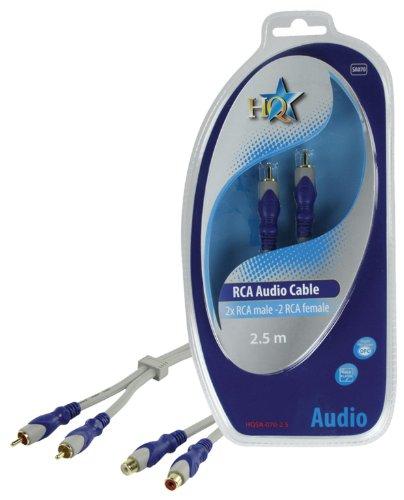 HQ SA-070-2.5 - Audio-Kabel (2.5m, 2 x RCA, 2 x RCA, Männlich/weiblich, Gold, Blau, Grau, PVC)