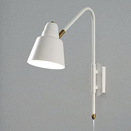 Brazo Largo Aplique de Pared Vintage Interior con Interruptor Enchufe Cable lámpara de pared Industrial ajustable luces de lectura de metal Luz de Pared para dormitorio, sala de estar, cocina, blanco