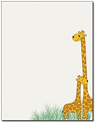 Baby Mama Giraffe Stationery Paper - 80 Sheets - Great for Baby Showers, Birth Announcements, and Children's Party Invitations by Desktop Publishing Supplies, Inc.