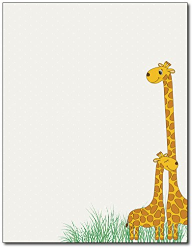 Baby Mama Giraffe Stationery Paper - 80 Sheets - Great for Baby Showers, Birth Announcements, and Children's Party Invitations