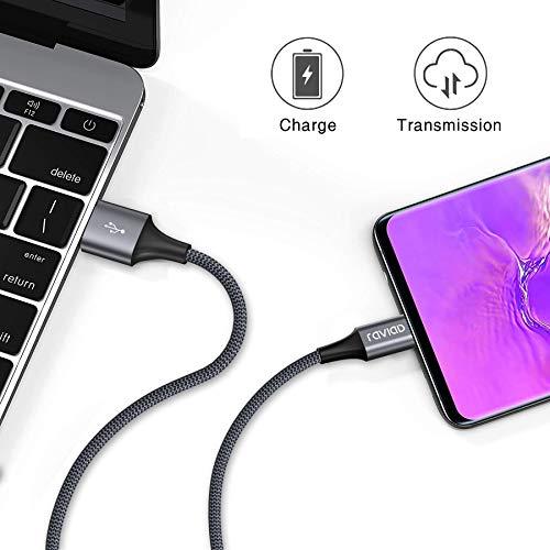 USB Typ C Kabel, RAVIAD [4Pack 0.5M 1M 2M 3M] Nylon Typ C Ladekabel und Datenkabel USB C Schnellladekabel für Samsung Galaxy S10/S9/S8+, Huawei P30/P20, Google Pixel, Sony Xperia XZ, OnePlus 6T (Grau) - 4