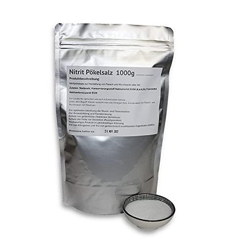 1000g Nitrit-Pökelsalz | 0,4 - 0,5% Natriumnitrit zur Herstellung von Fleisch und Wurstwaren aller Art | Nitritsalz Pökel-Salz Allergen- und GMO-frei