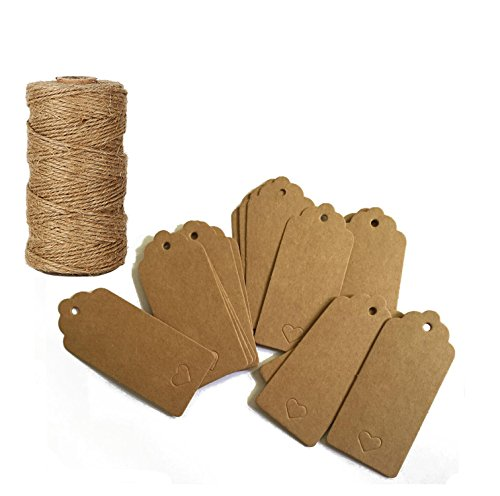 TIAMALL 100PCS Kraft Paper Gift Tags Bonbonniere Favor Rectangular Gift Tags with Free 300 Feet Natural Jute Twine