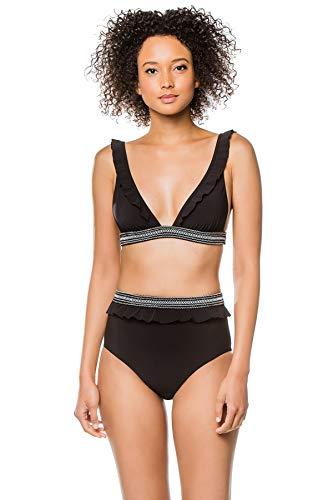 Kisuii Women's Black Italian Jersey Classic Bikini Top Black M
