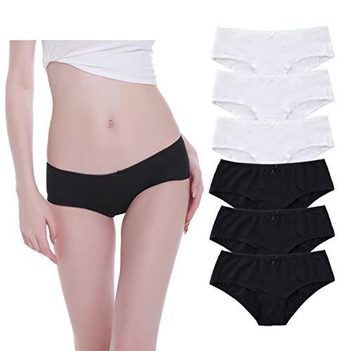 YouShow Unterhosen Damen 6er Pack Baumwolle Unterwäsche Slips Spitze Panties Hipsters (Schwarz*3+Weiß*3, S)