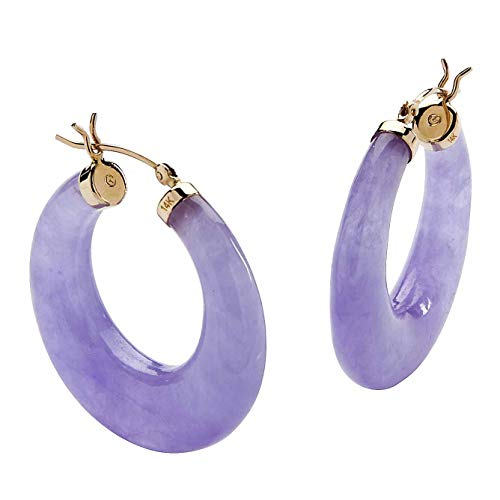 14K Yellow Gold Genuine Lavender Jade Hoop Earrings (29mm)