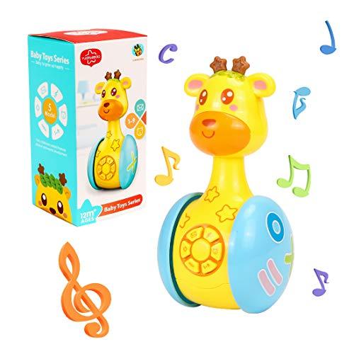 O-Kinee Juguetes Bebe 6 Meses Más, Jirafa De Dibujos Animados Juguete, Juguetes Musicales para Niños, Juguetes del Bebé, Juguete Educativo Temprano Regalos para Niños Niñas (Jirafa)