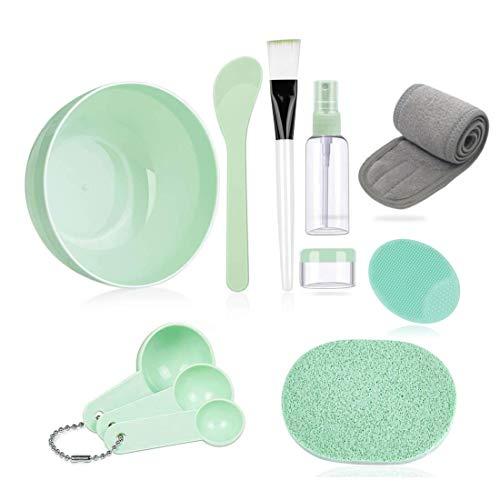 Face Mask Mixing Bowl Set,with Big Volume Facial Mask Bowl Spa Headband Manual wash brush Stick Spatula Silicone Brush Spray Bottle Puff Soaking Bottle Gauge DIY Facemask Mixing Tool Kit (green)