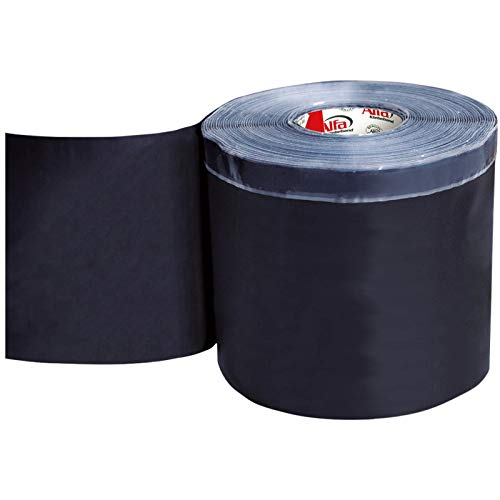 EPDM-Folie 200 mm x 20 m schwarze Dichtfolie aus EPDM-Kautschuk mit einseitigem Butyl-Streifen zur äußeren Abdichtung von Fenster- und Türelementen