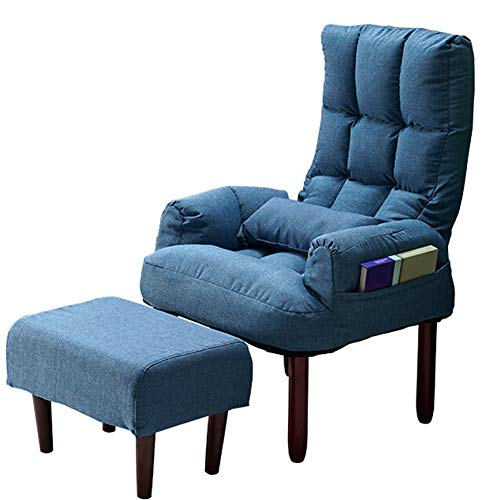 HGFDSA Klappbarer Liegestuhl, Mit Arm Einzelschlafsofa Schlafsessel Stühle Für Wohnzimmer Einzel Stoff Sofa Himmelblauer Stuhl + Pedale