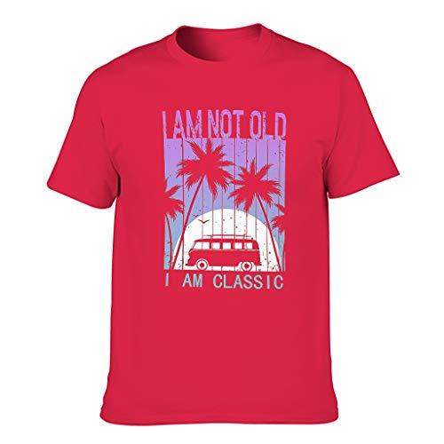 Camiseta de algodón para hombre con texto 'I Am Not Old I Am Classic multicolor ligera – Camisa estampada Red1 XXXXXXL