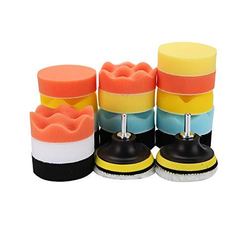 Trintion 22Tlg 3 Inchs Polierschwamm Auto Set für Polieraufsatz Akkuschrauber Poliermaschine Bohrmaschine Aus Schwamm Und Wolle Polierpaste, für Poliermaschine