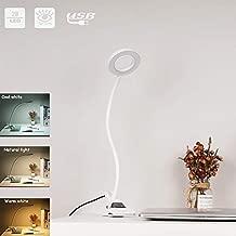 EYOCEAN LED Clip Lamp/Light, Eye-Care Reading Light for Headboard/Office/Dorm,3 Modes & 10 Dimming Clamp Desk Lamp, 360°Flexible Gooseneck Night Light, Adapter Included,7W