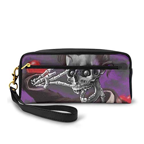 Pencil Case Pen Bag Pouch Stationary,Romantic Skeleton Handsome Corpse Groom with Tuxedo Hearts in The Backdrop Print,Small Makeup Bag Coin Purse