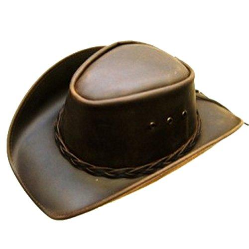 Modestone Unisex Leather Chapeaux Cowboy Brown