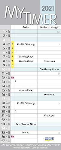 My Timer - Familienplaner 2021 für 1 Personen - Korsch-Verlag - Kalender mit 2 Spalten zum Eintragen - 18,8 cm x 46,8 cm