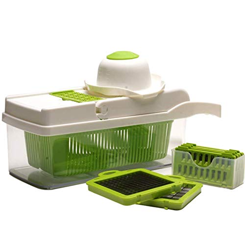 Vegetable and Onion Choppers, Mandolin Slicer and Food Dicer,Multifunctional Cutter, Includes Mandoline, Spiral and Ribbon Slicer,Best for Potatoes, Carrots and Tomatoes,White
