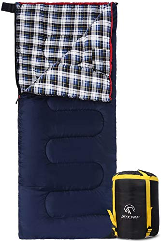 Cotton Flannel Sleeping Bags for Camping, Navy Blue