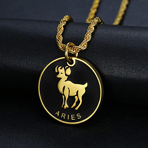 CXWK 12 Constelaciones Signo del Zodiaco Collar con Colgante de Oro Aries Leo Hombres Mujeres joyería