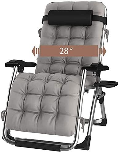 YIKANLIA Zero Gravity Lounge Chair, Zusammenklappbarer, Extra Breiter, Verstellbarer Sonnenstuhl - Mit Kissen Robuster, Tragbarer, Leichter Liegestuhl Für Patio Garden Beach Pool Support 200 Kg