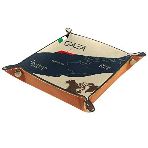 FCZ Leder-Tablett mit Landkarte und Gazastreifen, für den Nachttisch, zum Aufbewahren von Schmuck, Schlüssel, Münzen, Süßigkeiten