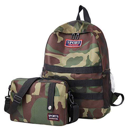 2set Damen Outdoor Rucksack Mode Schulrucksack für Mädchen Backpack Rucksack Schulrucksack rucksäcke mit für Camping Outdoor Sport Diebstahl Tasche (Tarnung)