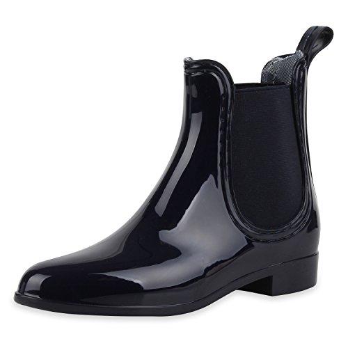 SCARPE VITA Damen Lack Stiefeletten Gummistiefel Chelsea Boots Schuhe 160509 Dunkelblau Lack 40