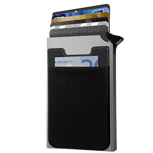 Porte Carte de Crédit Aluminium + 2 étuis offerts – Système Anti Chute de Carte – Protection Carte Bleue sans Contact – Sécurité Anti piratage – Idée Cadeau Homme et Femme – par HUYAMI (Gris)