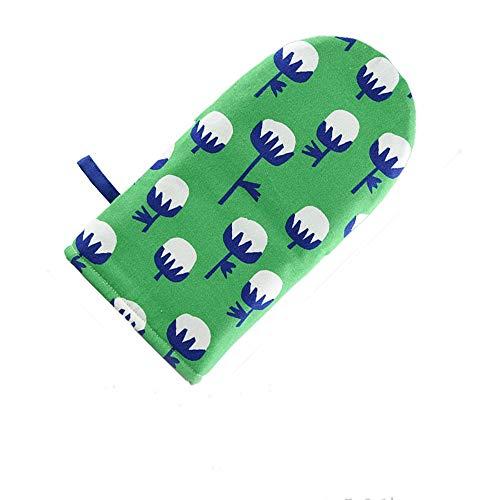Ywlanlantrading Handschuh Handgemachte Ofenhandschuhe Floral Baumwoll- und Leinenofenhandschuhe Ofen Küche Backen Verdickung Verbrühschutzhandschuhe (Color : Green, UnitCount : 2pcs)
