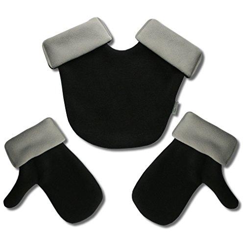 Partnerhandschuhe aus Doppelfleece - in Deutschland hergestellt - Schwarz/Grau