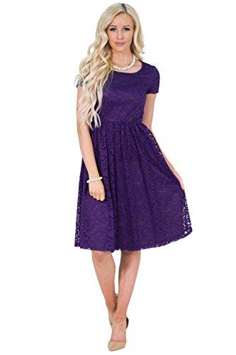 Jenna Modest Lace Dress or Bridesmaid Dress in Regency Royal Purple - L, Modest Semi-Formal or Prom Dress in Purple