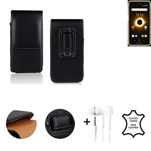 K-S-Trade® Leder Gürtel Tasche + Kopfhörer Für Ruggear RG650 Seitentasche Belt Pouch Holster Handy-Hülle Gürteltasche Schutz-Hülle Etui Schwarz 1x