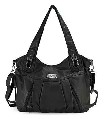 Scarleton Satchel Handbag for Women, Ultra Soft Washed Vegan Leather Crossbody Bag, Shoulder Bag, Tote Purse, Black, H147201